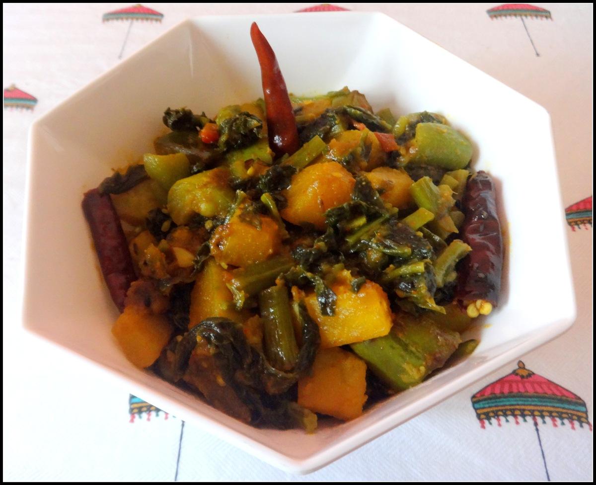 Malabar Spinach with vegetables (Pui Shak Chorchori)