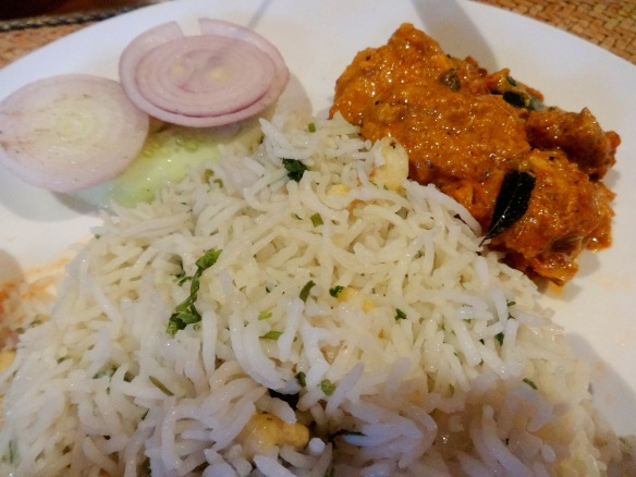 Coriander rice, Salad, Chettinad Chicken as Main course