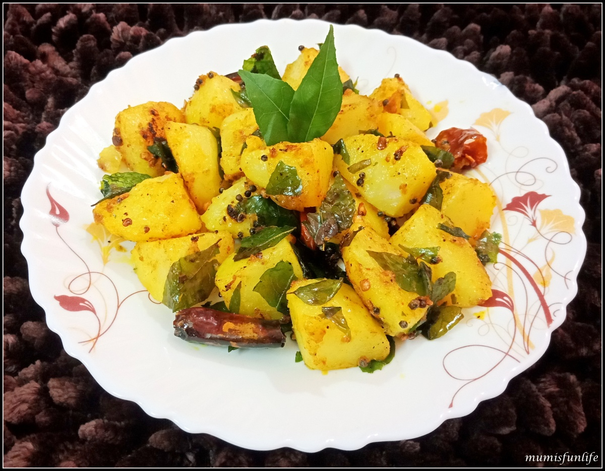 Stir fried potato with curry leaves